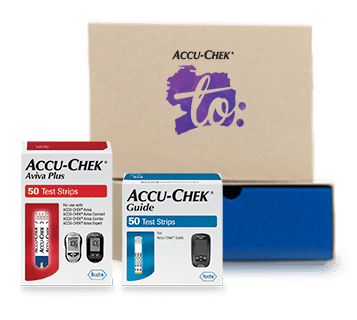 Accu-Chek To box featuring two fifty count packages of Accu-Chek Aviva test strips and Accu-Chek Guide test strips