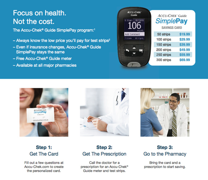 Fact sheet detailing how to save money on blood glucose test strips using the Accu-Chek Guide SimplePay savings program