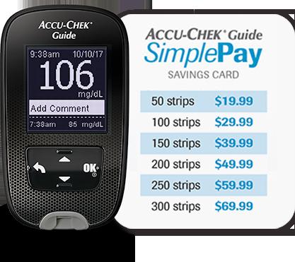 Accu-Chek Guide blood glucose meter and Accu-Chek Guide SimplePay pricing grid