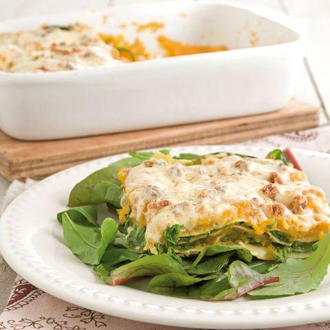 Butternut squash and arugula lasagna