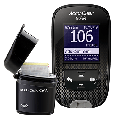 Accu-Chek Guide blood glucose meter and Smartpack test strip vial
