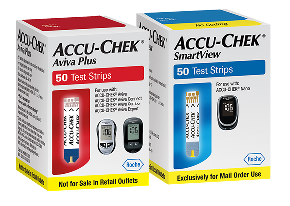 Two fifty count boxes Accu-Chek Aviva Plus blood glucose test strips and Accu-Chek SmartView blood glucose test strips