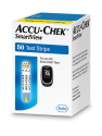 Fifty count box of Accu-Chek SmartView blood glucose test strips