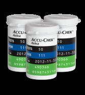 Three Accu-Chek Aviva Plus blood glucose test strip vials
