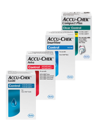 Accu-Chek control solutions for Accu-Chek Guide, Accu-Chek Aviva, Accu-Chek SmartView, and Accu-Chek Compact Plus test strips