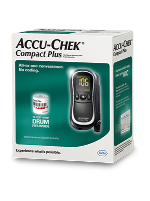 Accu-Chek Compact Plus blood glucose meter packaging
