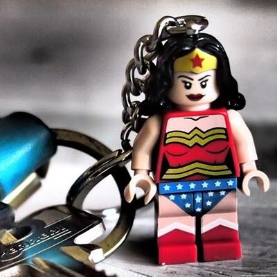 LEGO Wonder Woman minifig connected to keychain