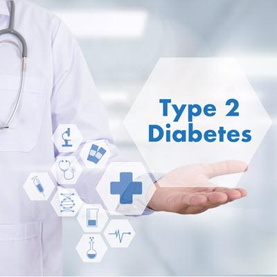 Hexagonal Diabetes Type 2 text hovering above a physician's open palm